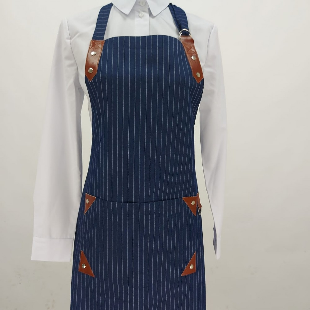 Denim apron with bib with leather inserts